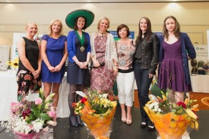 The winners receive their prizes. Left to right: Diane Young, BVNA Regional Co-ordinator NI, Louise Richards (Greenmount) Fiona Andrew (BVNA President) Melanie Sphan ( President AVSPNI) Joanna Mcnally (Hills) Lesley O'Neill (Braemar) Michelle Darby ( Balmoral)